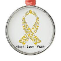 Hope Gold Awareness Ribbon Metal Ornament