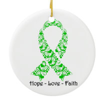 Hope Green Awareness Ribbon Ceramic Ornament
