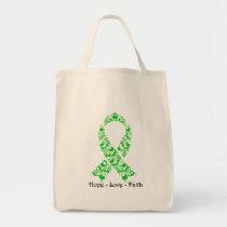 Hope Green Awareness Ribbon Tote Bag