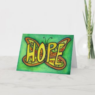 Hope Green Butterfly Art Greeting or Note Cards