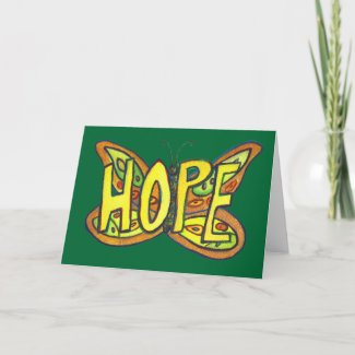 Hope Green Butterfly Art Note of Greeting Card