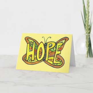 Hope Green Butterfly Art Note of Greeting Cards
