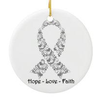 Hope Grey Awareness Ribbon Ceramic Ornament