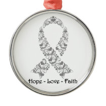Hope Grey Awareness Ribbon Metal Ornament