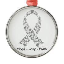 Hope Grey Awareness Ribbon Metal Ornament