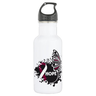 Hope Head and Neck Cancer Butterfly 18oz Water Bottle