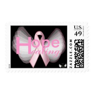 Hope Healing Angelic Wings Pink Ribbon Postage
