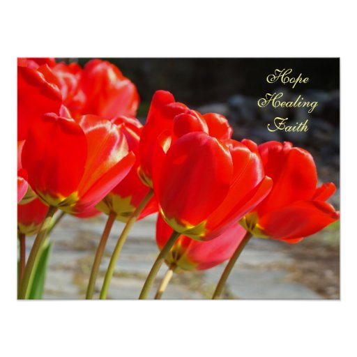 Hope Healing Faith art prints Nursing Red Tulips Print