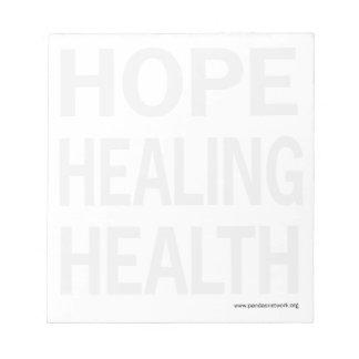 Hope, Healing Health Notepad-Full Page Black Text Memo Pad