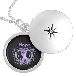 Hope Heart Floral Ribbon Hodgkin's Lymphoma Pendant