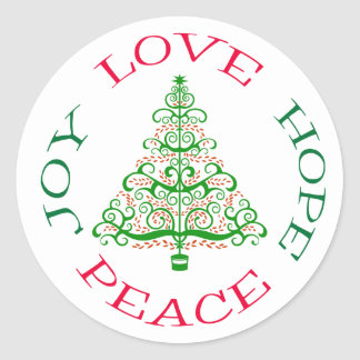 Hope Holiday Tree Classic Round Sticker