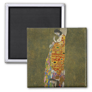 Hope II by Gustav Klimt 2 Inch Square Magnet
