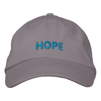 HOPE IN BOLD BLUE LETTERS EMBROIDERED BASEBALL CAPS