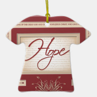 Hope in Red - Titus 2:13 Double-Sided T-Shirt Ceramic Christmas Ornament