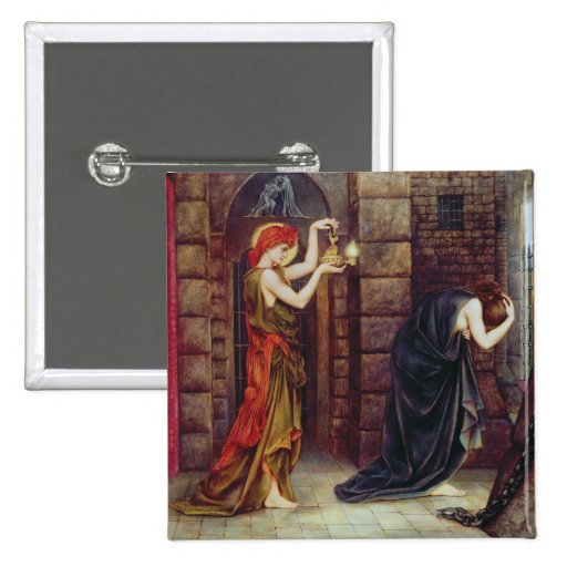 Hope in the Prison of Despair (oil on canvas) Pinback Buttons