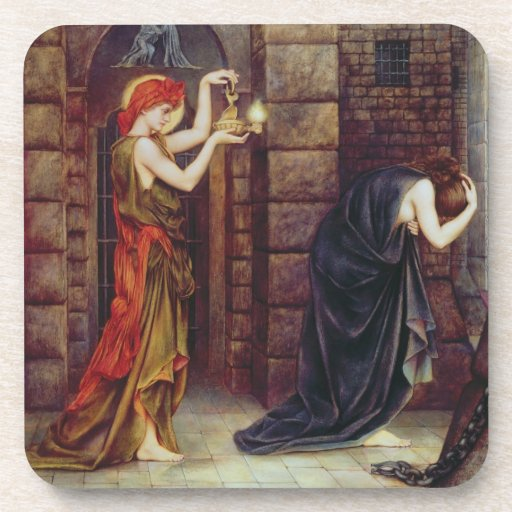 Hope in the Prison of Despair (oil on canvas) Beverage Coasters