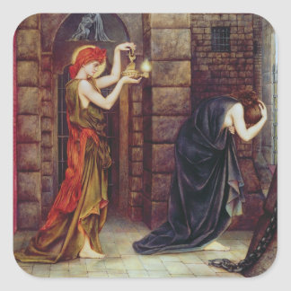 Hope in the Prison of Despair (oil on canvas) Square Sticker
