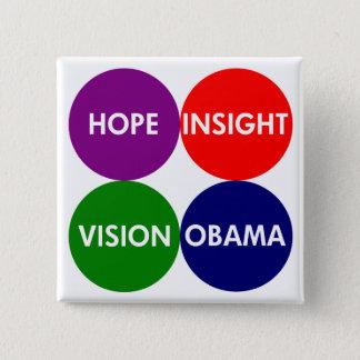 Hope, Insight, Vision, Obama (Pro-Obama Button) Button
