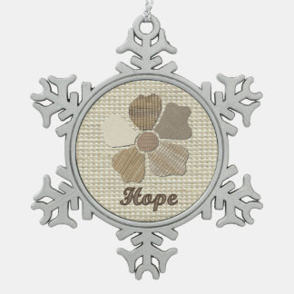Hope Inspirational Fabric Flower Collage Snowflake Pewter Christmas Ornament