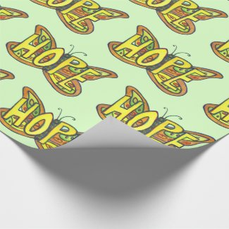 Hope Inspirational Green Butterfly Wrapping Paper