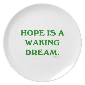 Hope Is A Waking Dream (green wisdom) Dinner Plate