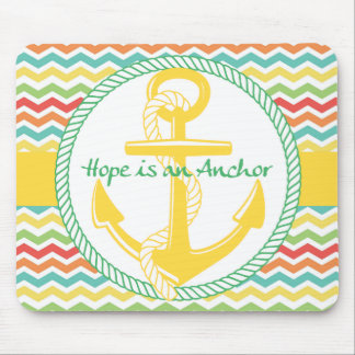 Hope is An Anchor Nautical Zigzag Mouse Pads