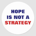 HOPE IS NOT A STRATEGY ROUND STICKER