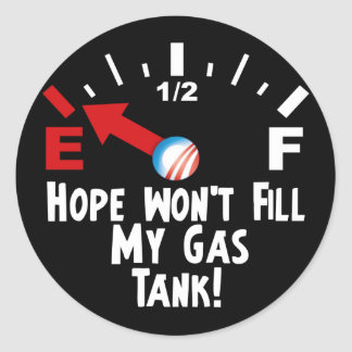 Hope is on Empty - Anti Barack Obama Classic Round Sticker