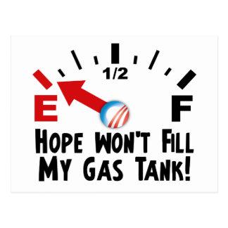 Hope is on Empty - Anti Barack Obama Postcard