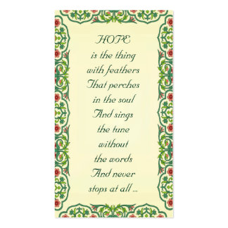 HOPE  is the thing  with feathers  That perches Double-Sided Standard Business Cards (Pack Of 100)