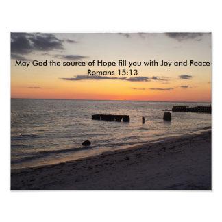 Hope Joy Peace Florida Siesta Beach Sunset Photo Print