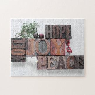 hope, joy, peace, noel puzzle