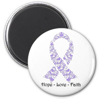 Hope Lavender Awareness Ribbon 2 Inch Round Magnet