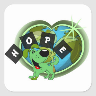 Hope (Leaf - Earth Day) Square Sticker