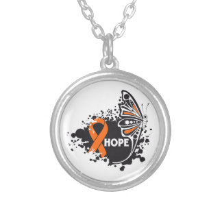Hope Leukemia Butterfly Round Pendant Necklace