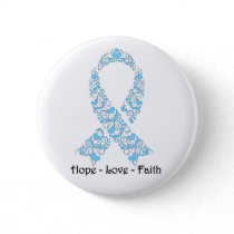 Hope Light Blue Awareness Ribbon Button