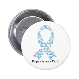Hope Light Blue Awareness Ribbon Button