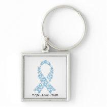 Hope Light Blue Awareness Ribbon Keychain