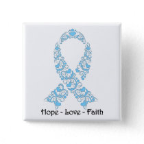 Hope Light Blue Awareness Ribbon Pinback Button