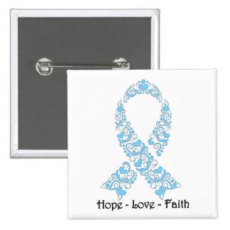 Hope Light Blue Awareness Ribbon Pinback Button