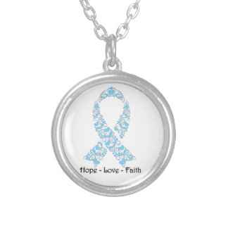 Hope Light Blue Awareness Ribbon Round Pendant Necklace
