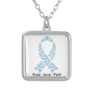 Hope Light Blue Awareness Ribbon Square Pendant Necklace