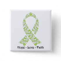 Hope Lime Green Awareness Ribbon Button