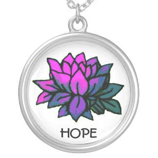 Hope Lotus Round Pendant Necklace