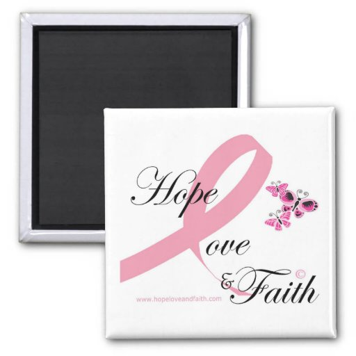 Hope love and faith square magnet