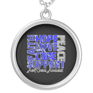 Hope Love Cure Anal Cancer Awareness Round Pendant Necklace