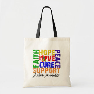 Hope Love Cure Autism Awareness Budget Tote Bag