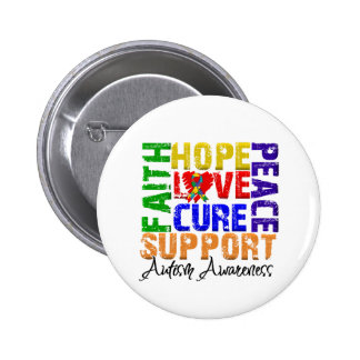 Hope Love Cure Autism Awareness Pinback Buttons