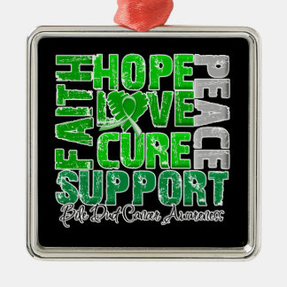 Hope Love Cure Bile Duct Cancer Awareness Ornament
