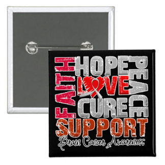 Hope Love Cure Brain Cancer Awareness Pinback Button